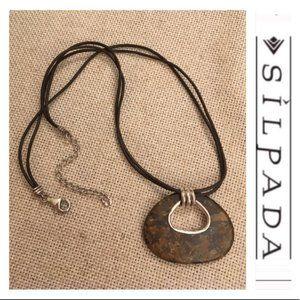 Silpada Bronzite Stone Brown Leather Cord Necklace